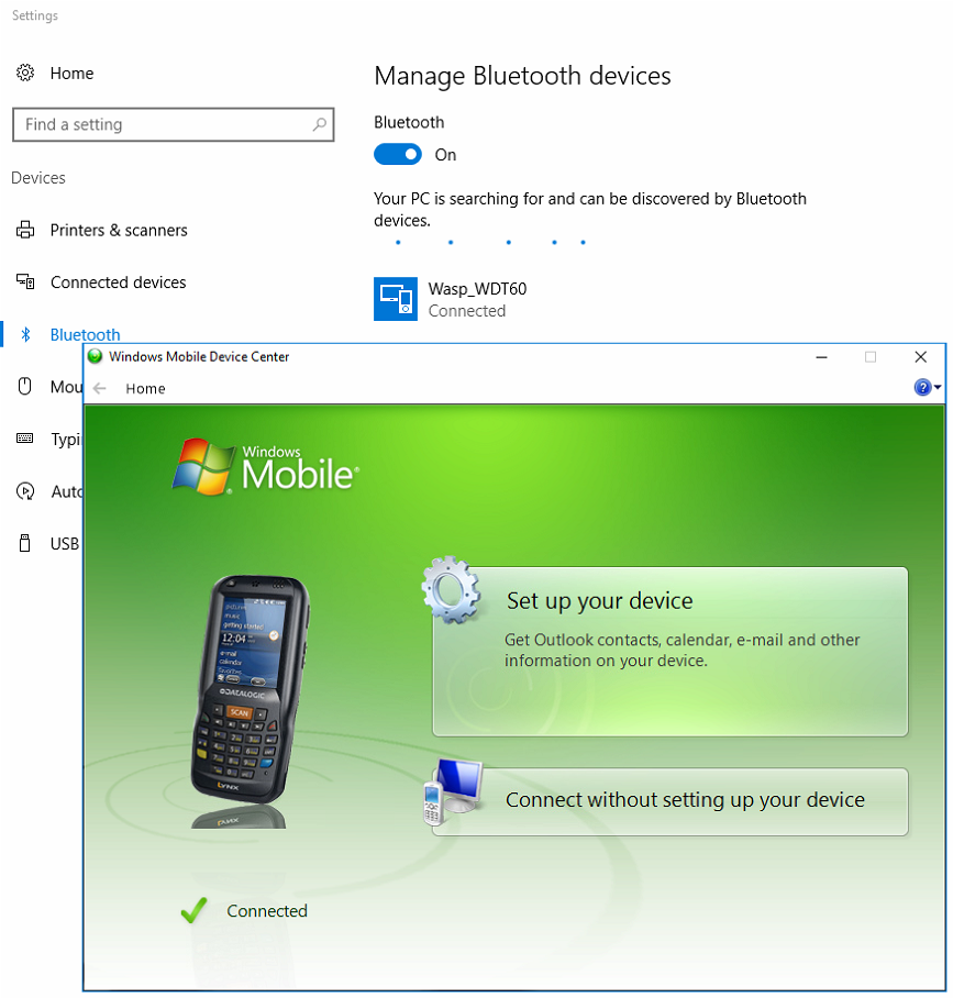 WDT60 Mobile Device Not recognized by Windows Mobile Device