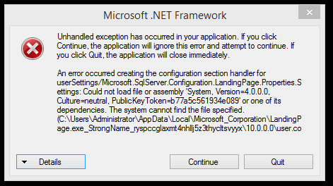 unhandled exception