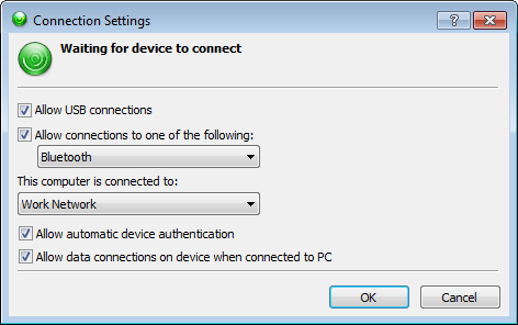 Windows Mobile Device Center: Device Connection Settings in the